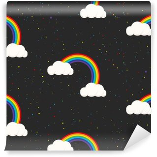 Washable Wall Mural Night sky fantasy kid seamless pattern. Star confetti, clouds and rainbow boy grey wallpaper and fabric design.