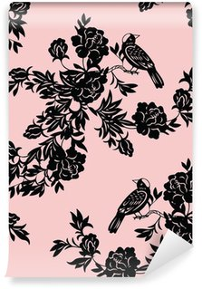 Washable Wall Mural Oriental floral and bird patterns
