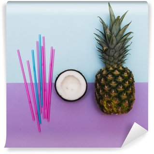 Washable Wall Mural pineapple and half of coconut for party with straws in pastel