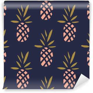 Pineapples on the dark background. Vector seamless pattern with tropical fruit. Washable Wall Mural