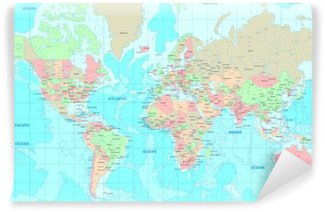 Washable Wall Mural Political World map