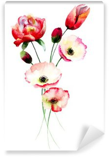 Poppy and Tulips flowers Washable Wall Mural