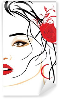 Washable Wall Mural Portrait of beautiful woman with red rose in hair