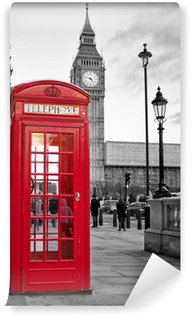 Washable Wall Mural Red phone booth in London with the Big Ben in black and white