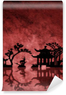 Washable Wall Mural Red textured Asia landscape