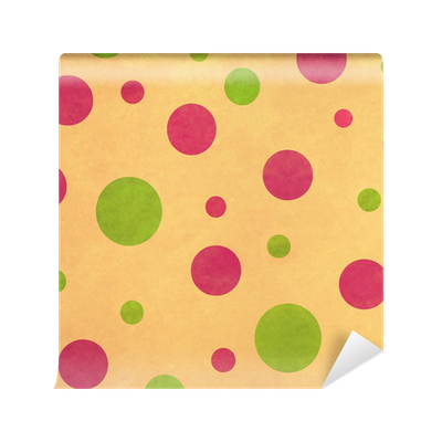 Washable Wall Mural Retro Background with Pink and Green Dots