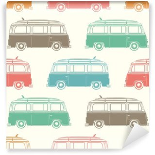 Retro camper van with surfing board. Seamless pattern. Washable Wall Mural