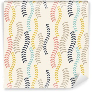 Washable Wall Mural Retro leaves pattern.
