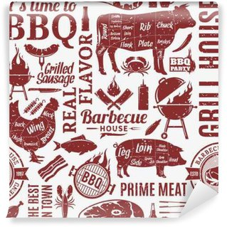 Washable Wall Mural Retro styled typographic vector barbecue seamless pattern