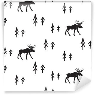 Scandinavian simple style black and white deer seamless pattern. Deers and pines monochrome silhouette pattern. Washable Wall Mural