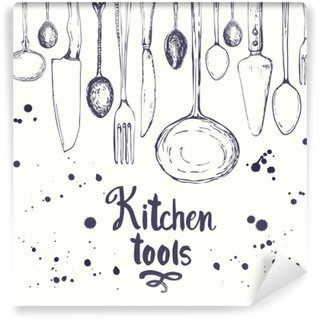 Seamless background with eating utensils. Menu pattern. Washable Wall Mural