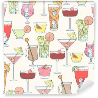 Washable Wall Mural Seamless cocktail pattern
