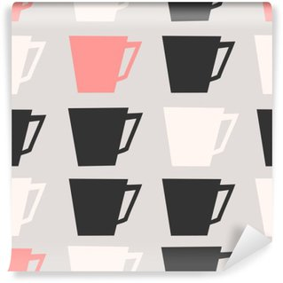 Washable Wall Mural Seamless Coffee Cups Pattern