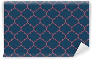 Washable Wall Mural Seamless dark blue and burgundy wide moroccan pattern vector