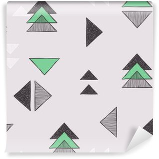 Seamless hand-drawn triangles pattern. Washable Wall Mural