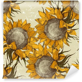 seamless ornament with sunflowers