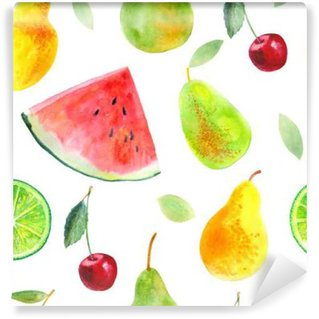 Seamless pattern with fruit.Watermelon lemon lime pears and cherry.Food picture.Watercolor hand drawn illustration. Washable Wall Mural