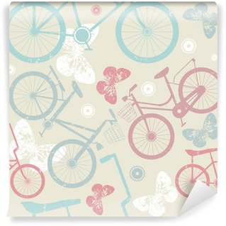 Seamless pattern with retro bicycles and cute butterflies Washable Wall Mural