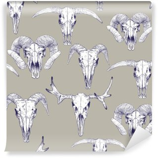 Seamless pattern with skulls of deer, bull, goat and sheep. Line drawing of skulls. Mystical background for your design. Washable Wall Mural