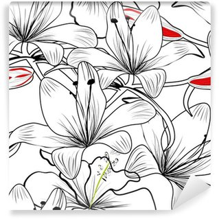 Washable Wall Mural seamless pattern with white lily flowers