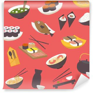 Washable Wall Mural Seamless sushi pattern, flat design vector for restaurant, menu, cafe, culinary blogs and sites.