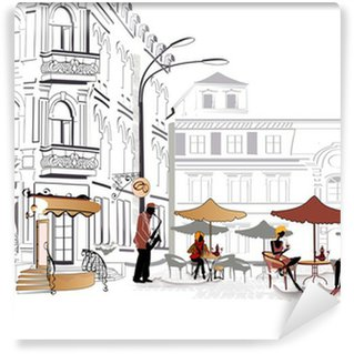 Washable Wall Mural Series of street cafe in sketches