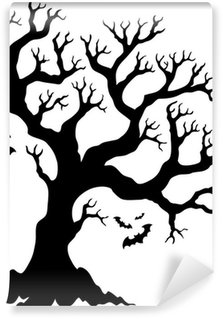 Washable Wall Mural Silhouette Halloween tree with bats