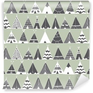 Teepee native american summer tent illustration. Washable Wall Mural