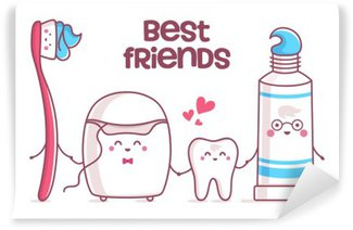 Washable Wall Mural Tooth, toothpaste, dental floss, toothbrush