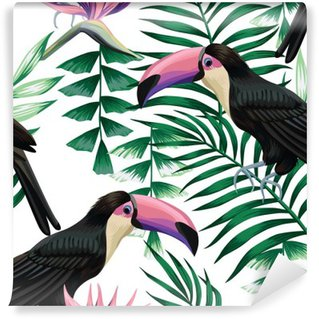 Washable Wall Mural toucan tropical pattern