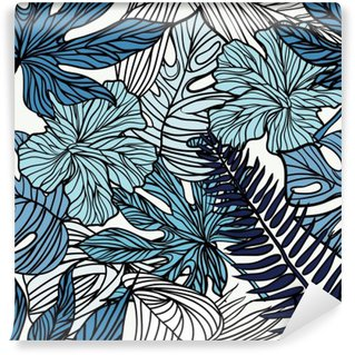 Washable Wall Mural Tropical exotic flowers and plants with green leaves of palm.