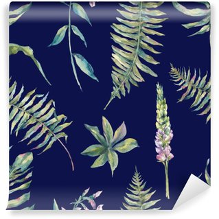 Tropical watercolor leaf seamless pattern Washable Wall Mural