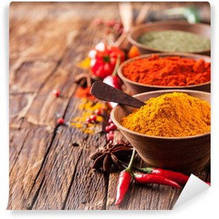 Various spices on wood Washable Wall Mural