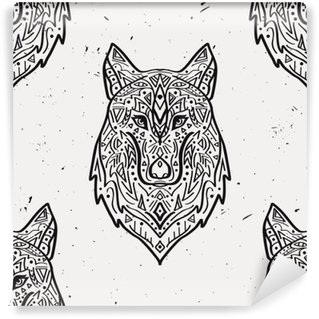 Vector grunge monochrome seamless pattern with tribal style wolf with ethnic ornaments. American indian motifs. Boho design. Washable Wall Mural
