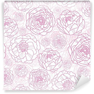 Washable Wall Mural Vector pink line art flowers elegant seamless pattern background