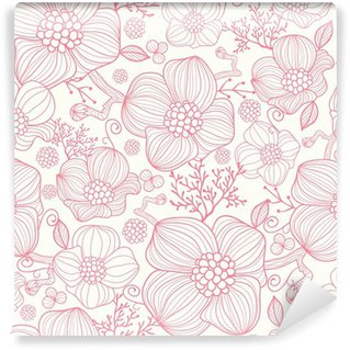 Washable Wall Mural Vector red line art flowers elegant seamless pattern background