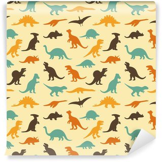 vector set silhouettes of dinosaur, retro pattern background Washable Wall Mural