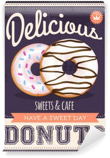 vector vintage styled donuts poster Washable Wall Mural