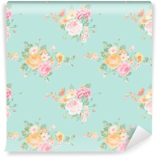 Washable Wall Mural Vintage Flowers Background - Seamless Floral Shabby Chic Pattern