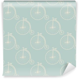 Vintage high wheeler seamless pattern Washable Wall Mural