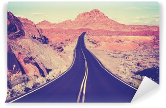 Vintage toned curved desert highway, travel concept, USA Washable Wall Mural