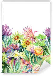 Watercolor blooming cactus background Washable Wall Mural