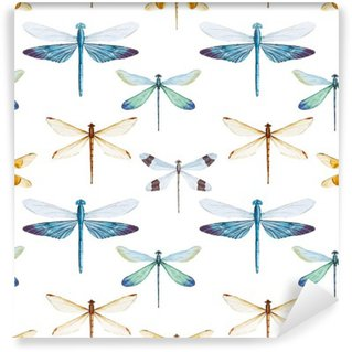 Washable Wall Mural Watercolor dragonflies pattern
