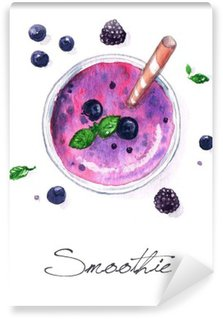 Watercolor Food Painting - Smoothie Washable Wall Mural