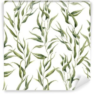 Washable Wall Mural Watercolor green floral seamless pattern with eucalyptus leaves. Hand painted pattern with branches and leaves of eucalyptus isolated on white background. For design or background