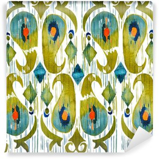 Watercolor green ikat vibrant seamless pattern. Trendy tribal in watercolour style. Peacock feather.
