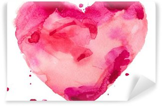 watercolor heart. Concept - love, relationship, art, painting Washable Wall Mural