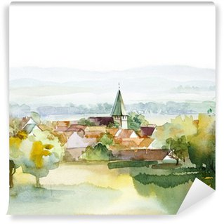 Washable Wall Mural Watercolor Landscape Collection: Summer
