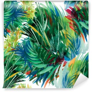Washable Wall Mural Watercolor seamless pattern with grass. Hand painting.