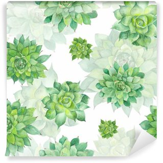 Watercolor Succulent Pattern on White Background Washable Wall Mural